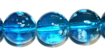 42pieces x 14mm Blue colour round shape bubble gum glass beads / speckled glass beads -- 3005140